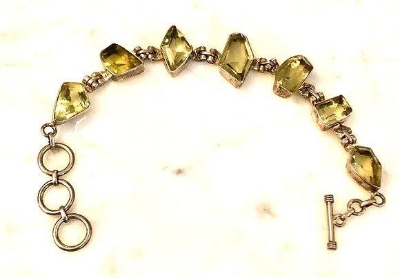 Faceted Citrine Sterling Silver Bracelet