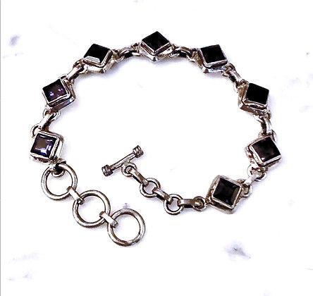 Deep Faceted Iolite Sterling Silver Bracelet