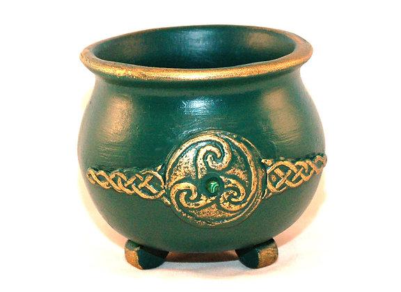 Green-Gold Knotwk. Triskellion Malachite Cauldron