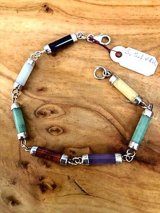 Chakra Beads Sterling Silver Bracelet
