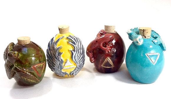 Set of 4 Elemental Corked Potion Bottles
