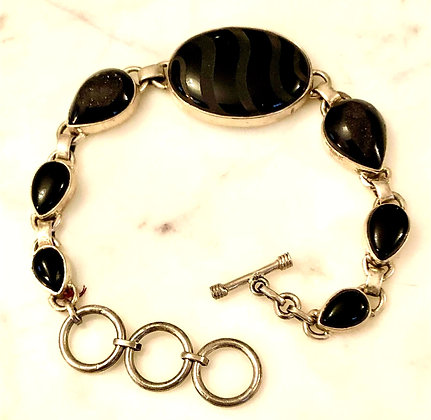 Black Spinel with Druzy Sterling Silver Bracelet