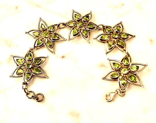 Faceted Peridot Sterling Silver Star Bracelet