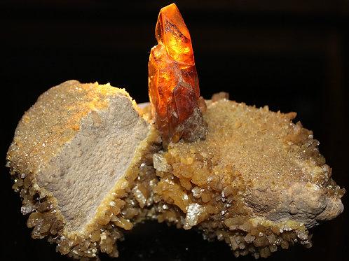 Barite (golden) with yellow Calcite, Elk Creek SD