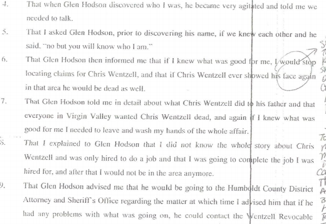 Hodson Rainbow Ridge Opal Mine death threats against Wentzell 2004 Virgin Valley
