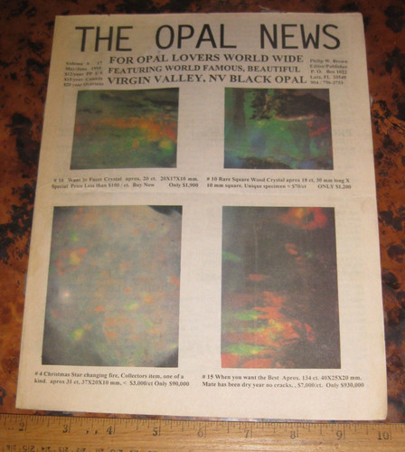 Rare THE OPAL NEWS Vol 17 May/June 1995 re: Virgin Valley Opal |  dominiongems