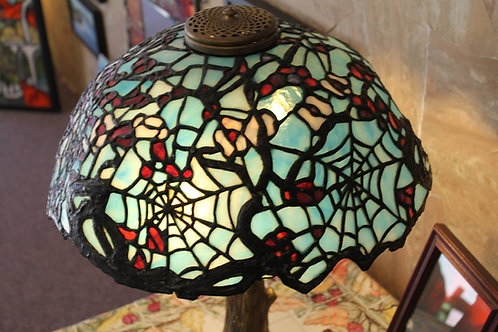 Apple Blossom & Spiderweb Stained Glass Lamp
