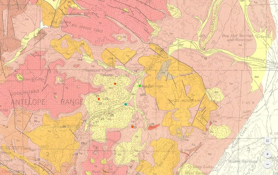 Geological Map of Virgin Valley opal field
