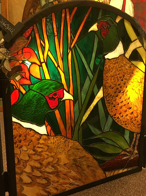 Pheasant Stained Glass Fireplace Screen