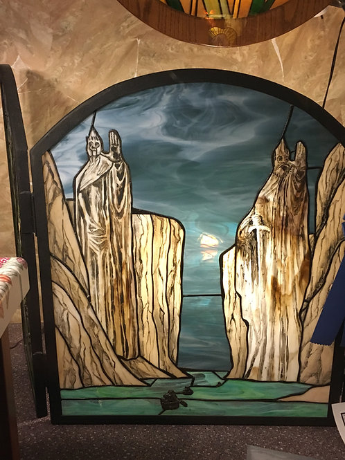 Award-Winning Lord of the Rings Stained Glass Fireplace Screen