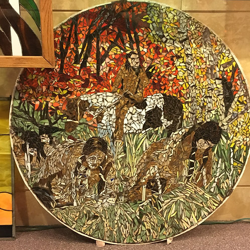 """Stained Glass Mosaic Table Top, """"Dances With Wolves"""""""