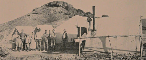 Dow (Bonanza) Mine Camp with miners & family, ca. 1915, on the present day Opal Queen Mine