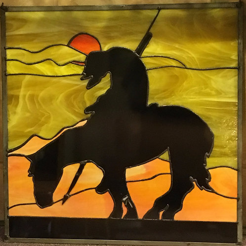 Wounded Warrior Native American Stained Glass Panel