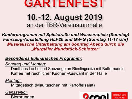 Gartenfest am 10.-12. August 2019