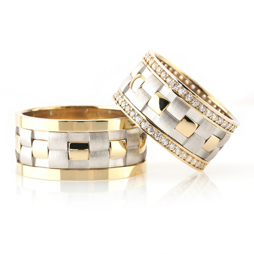 925 Sterling Silver Checkered Model Wedding Rings Model 6