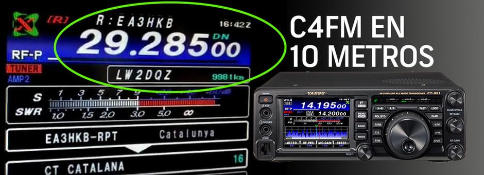 El uso del modo digital de Yaesu Fusion C4FM en la banda de Radio HF 10 metros.