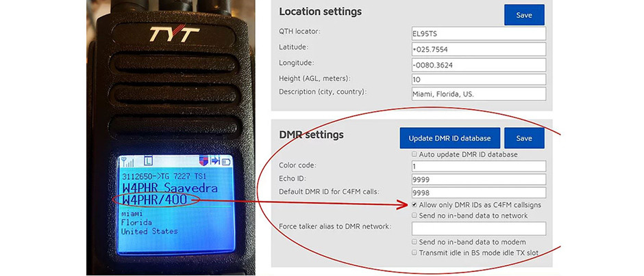 Configuración del OpenSpot para cruce de identificacion del modo C4FM a DMR-BrandMeister