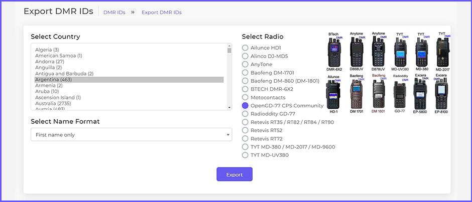 Utilitario de base web, para la descarga y conformación de base de datos ID's para radios de DMR