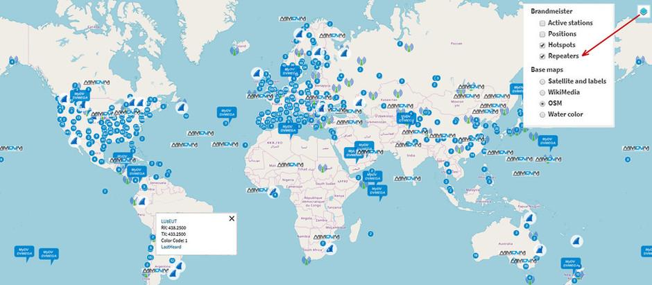 Mapa Mundial de Repetidoras BrandMeister y dispositivos digitales openSPOT y MMDVM.