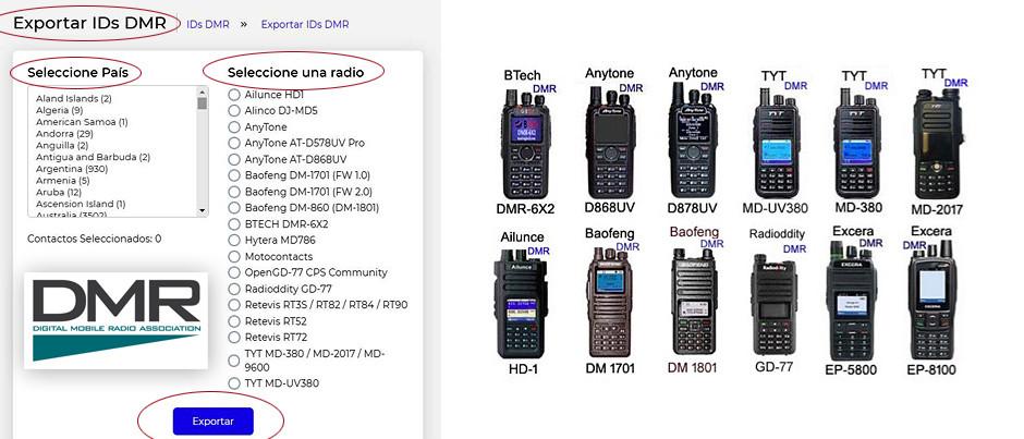 Utilitario de base web, para la descarga y conformación de base de datos de ID's de DMR, por CE3LWU.