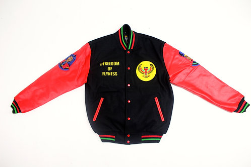 LIBRE BRAND ROYALTY VARSITY JACKET Black/Red