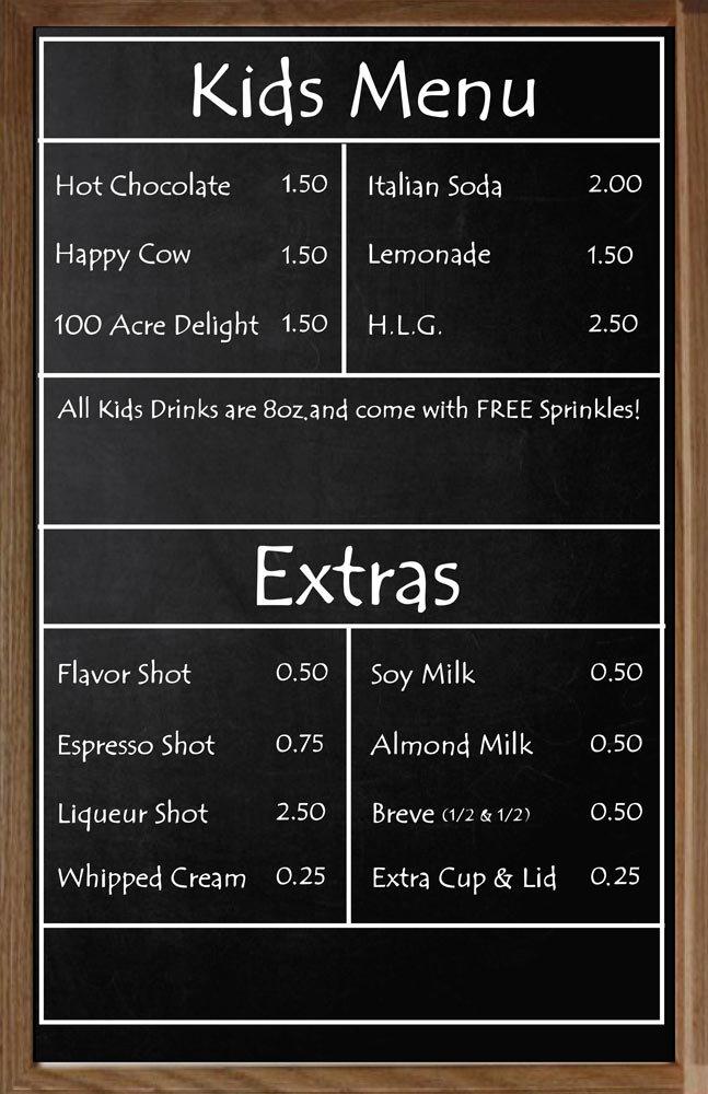 KIDS MENU & EXTRAS | South Hadley | Thirsty Mind Coffee and Wine Bar