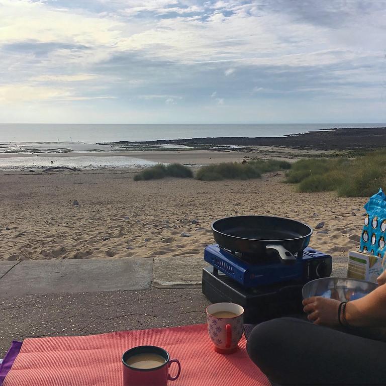 Yoga, Dip & Pancakes on the Beach