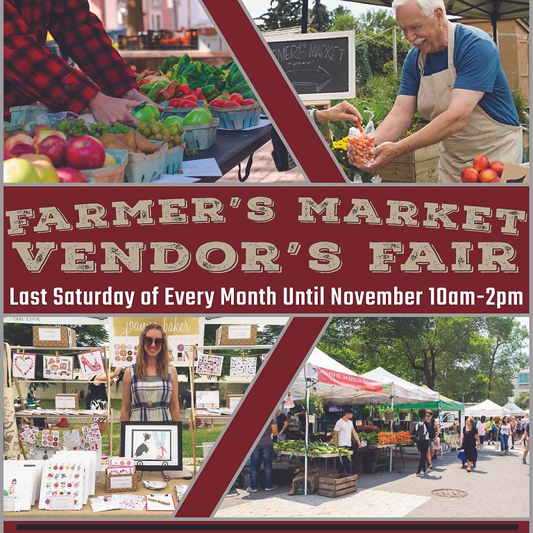 Farmer's Market and Vendor's Fair Sign Up - October 30th