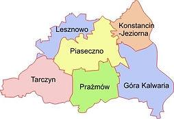 Mapa zasięgu usług ogrodniczych na terenie Piaseczna, Konstancina i okolic