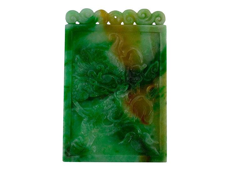 Jadeit Platte, grün - braun, Drache & Phoenix, graviert