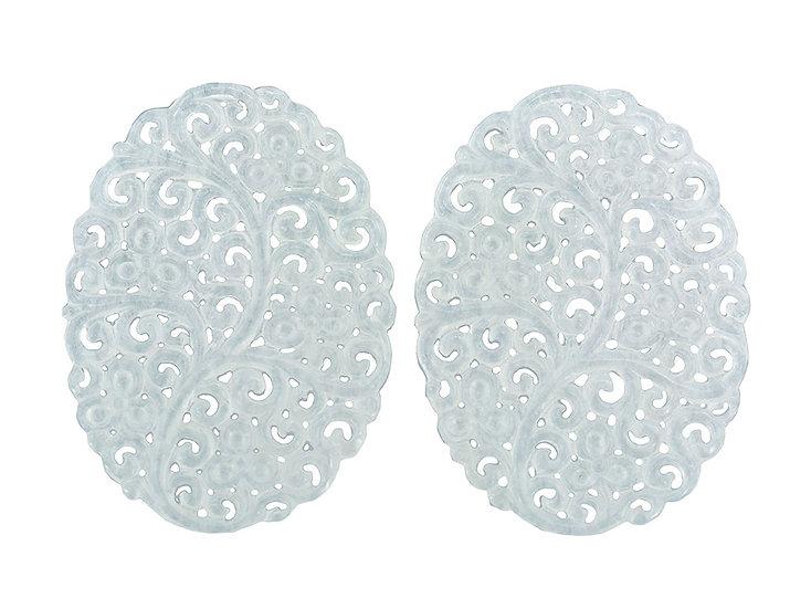 Paar Platten oval graviert weiss