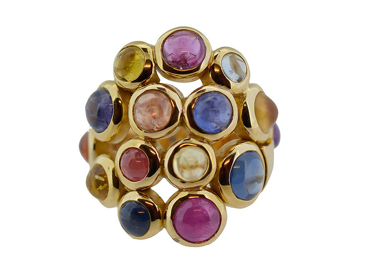 "Ring ""Fancy"" Saphire mix, Cabochons"