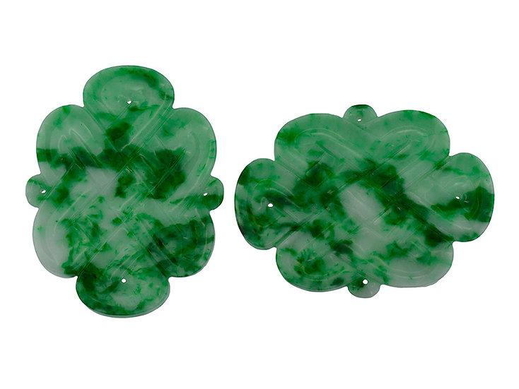 """Paar Platten """"endless knot"""" grün, graviert"""