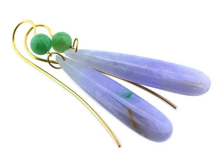 Ohrhänger Jadeite Grün & Lavendel