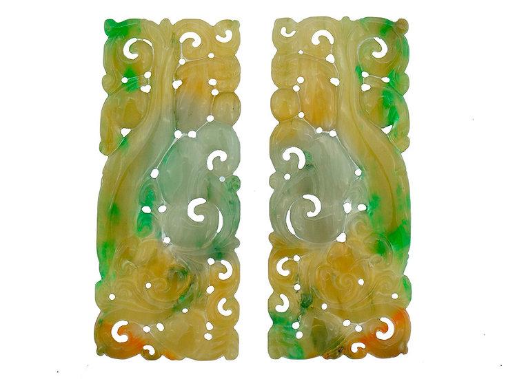 Paar Jadeit Platten. graviert, braun – grün, square