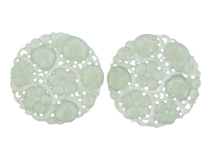 """Paar Platten rund, graviert """"icy light green"""""""