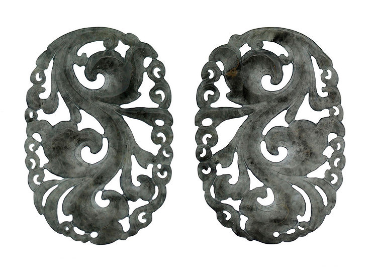 Paar Platten oval graviert schwarz