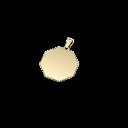 Dije de Acero Octagonal Bañado en Oro de 18k