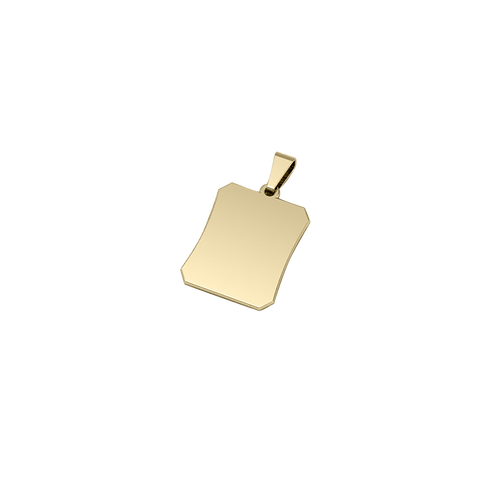 Dije de Acero Rectangular Bañado en Oro de 18K Acabado Acinturado