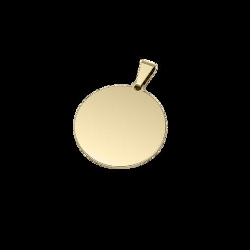 Dije de Acero Circular Bañado en Oro de 18k