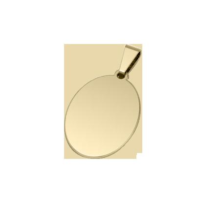 Dije de Acero Ovalado Bañado en Oro de 18k