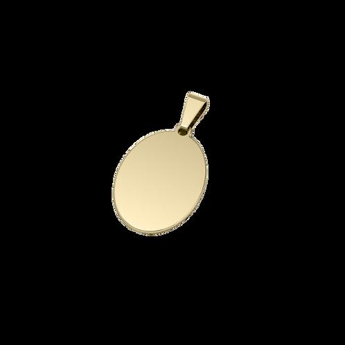 Dije de Acero Bañado en Oro de 18K Ovalado