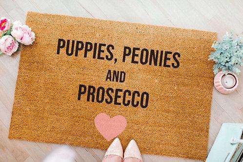 Puppie, Peonies and Prosecco Doormat