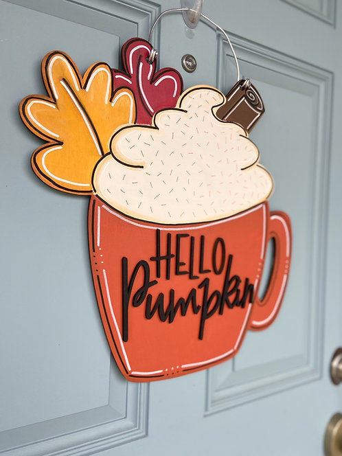 Hello Pumpkin Latte Cup Door Hanger