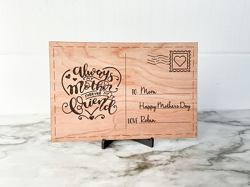 Mothers Day Wooden Postcard