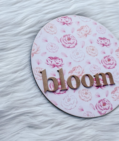 Floral Bloom Sign -Rose Gold/Pink Colorway