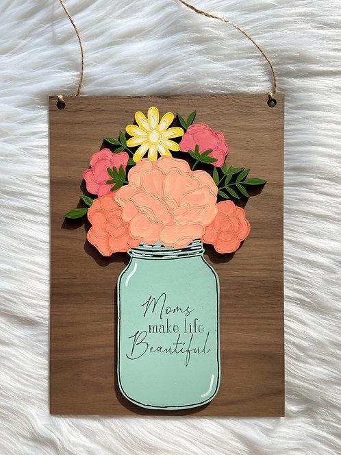 Mothers Day Floral Mason Jar