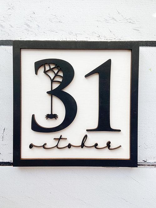 Framed Wood October 31 Shelf Sitter/Sign