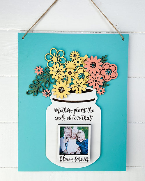 Spring Florals Mason Jar Sign