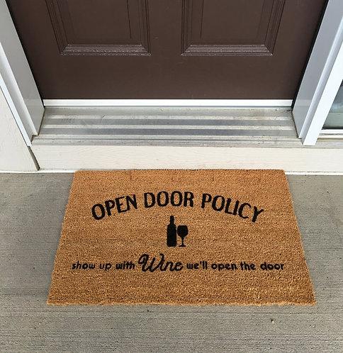 Open door policy - wine - doormat